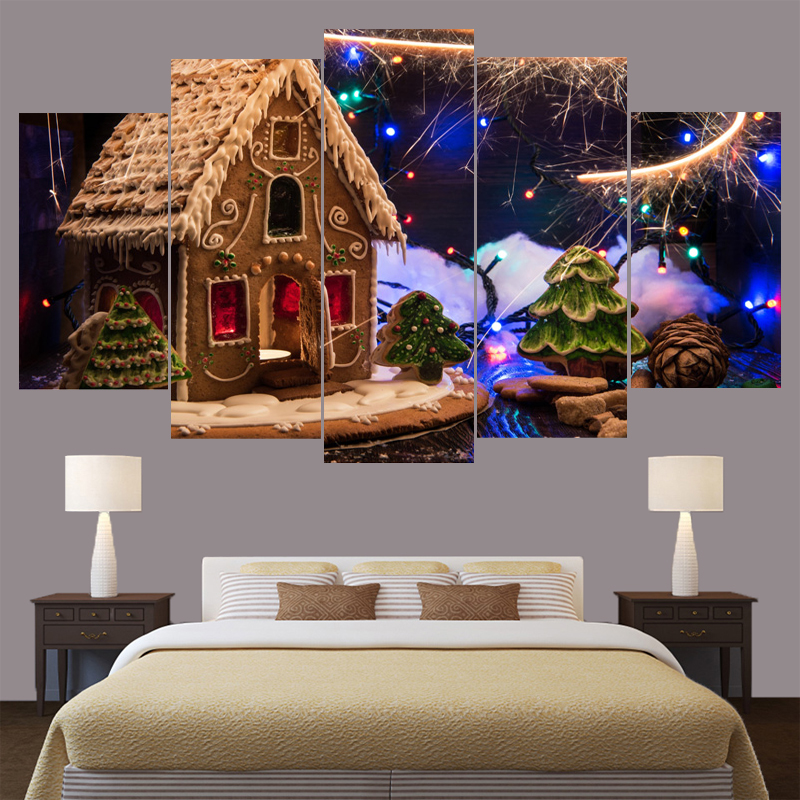 High Quality Canvas Abstract Decorative Paintings Home Decoration 5 Panel Christmas House Modern Modular Wall Art Frame Picture