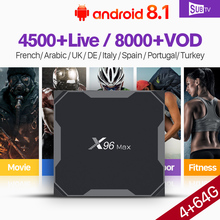 X96 Max SUBTV France IPTV Arabic Code TV Receiver 4+64G Dual-Band WiFi Support BT Android 8.1 S905X2 Full HD IPTV Italy 1 Year