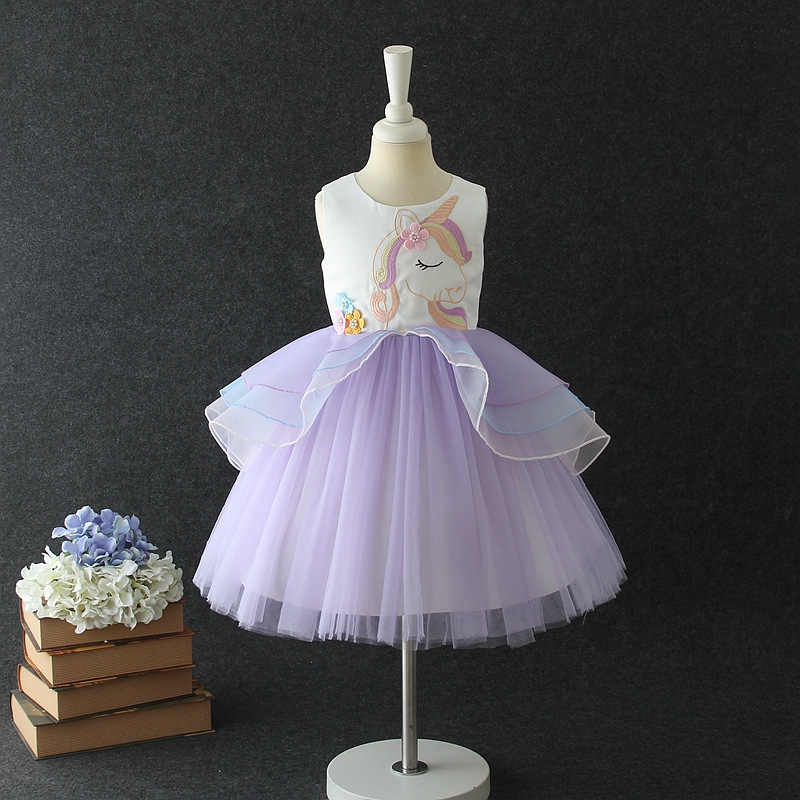 c3f810b3ab Fancy Kids Unicorn Tulle Dress for Girls Embroidery Ball Gown Baby Flower  Girl Princess Dresses Wedding