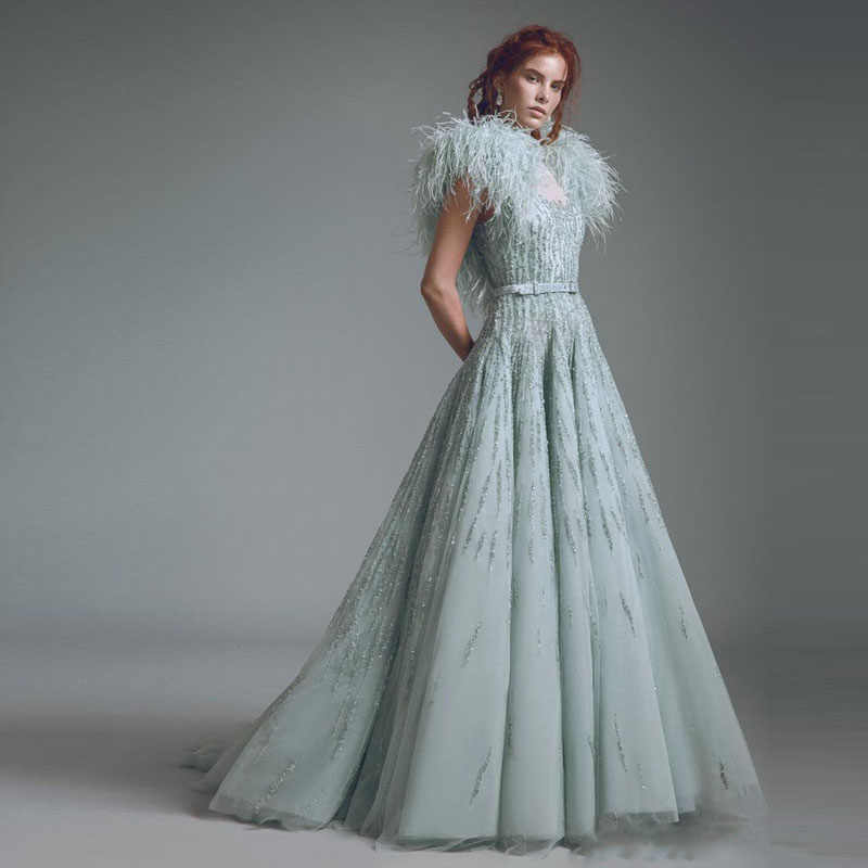 5cf54a411015 Amazing Mint Feathers Prom Gowns Luxury Beading Sleeveless Chic Evening  Gowns Hippie Style A Line Arabic