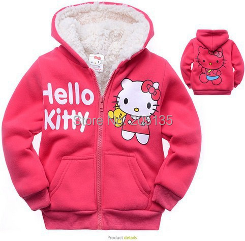 2016 Baby girls Hello Kitty coat Hooded fur Sweater Winter Warm Jacket Children outerwear kids clothes retail