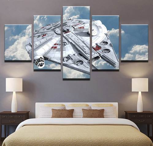 Canvas Paintings Wall Art Home Decor HD Prints 5 Pieces Star Wars Millennium Falcon Pictures Movie Poster Living Room Framework