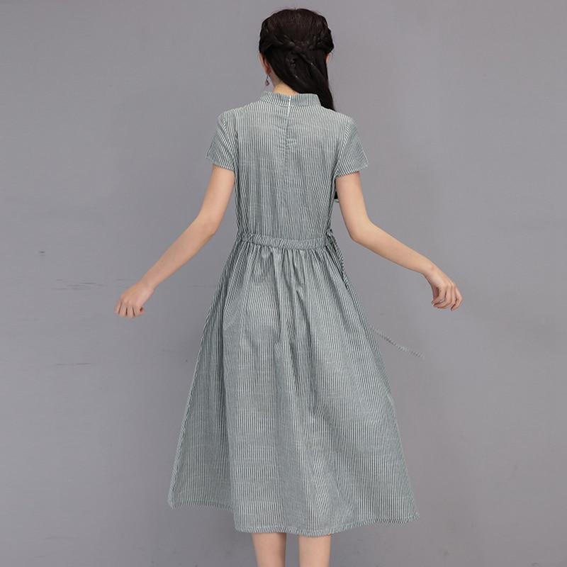 1d7227ac6e Clobee Women Summer Dress Short Sleeve Office Plus Size Dresses Cotton and Linen  kimono Striped Vintage mori girl japanese dress-in Dresses from Women s ...