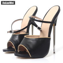 jialuowei Women Sandals Peep Toe 18CM High Heels Sandals Sexy Fetish Metal Spike Heels Ankle Straps Ladies Dress Shoes