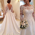 Honey Qiao 2017 Elegant Vestido De Renda Lace Long Sleeves Wedding Dresses Open Back A Line Plus Size Satin Skirt Bridal Gowns