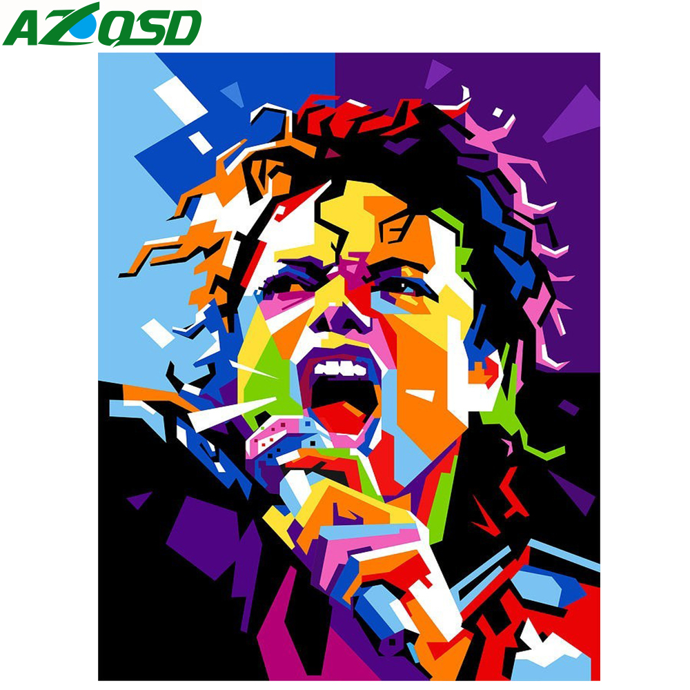 AZQSD Oil Painting Michael Jackson Painting Drawing Canvas Picture DIY Abstract Oil Painting By Number Singer Home Decor SZGD022