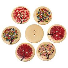 Wood Sewing Button Scrapbooking Round At Random Two Holes Tree Pattern 3cm Dia,20 PCs new black plastic housing aluminum plated 2 3cm dia holes power connector 180a 600v page 3