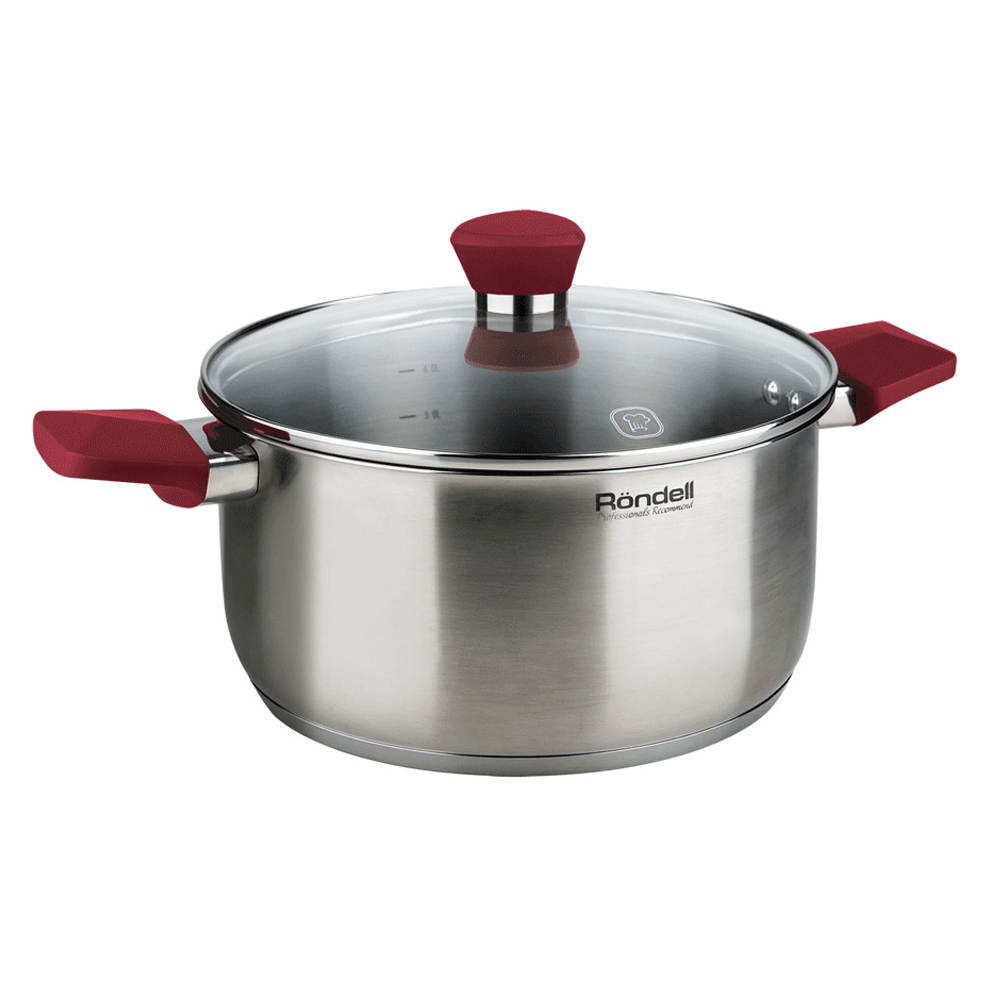 Pot with lid RONDELL RDS-814 (Diameter 20 cm, 2.8, high quality stainless steel cover from heat-resistant glass, capacity marks, suitable for all kinds of plates) цена в Москве и Питере