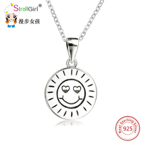 925 Sterling Silver Smile Face Round Necklaces & Pendant with Letter Engraved Silver Women Necklace ID Dog Tag Jewelry Gift
