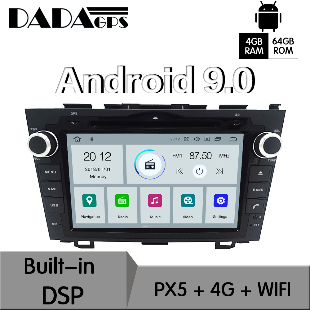 2 Din Android 9.0 4 64GB Built-in DSP Car DVD Player multimedia Radio For Honda CRV 2006-2011 GPS Navigation Stereo Radio image