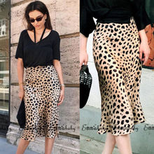 Women Long Skirts Sexy Leopard Print Asymmetrical High Waist A-Line Skirt Ladies Loose Pencil Tube Plus Size