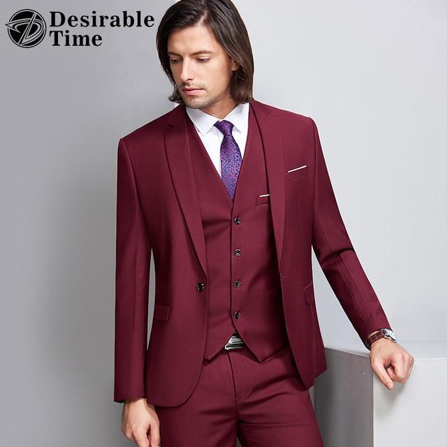 Aliexpress.com : Buy Desirable Time Wine Red Groom Wedding Suit ...