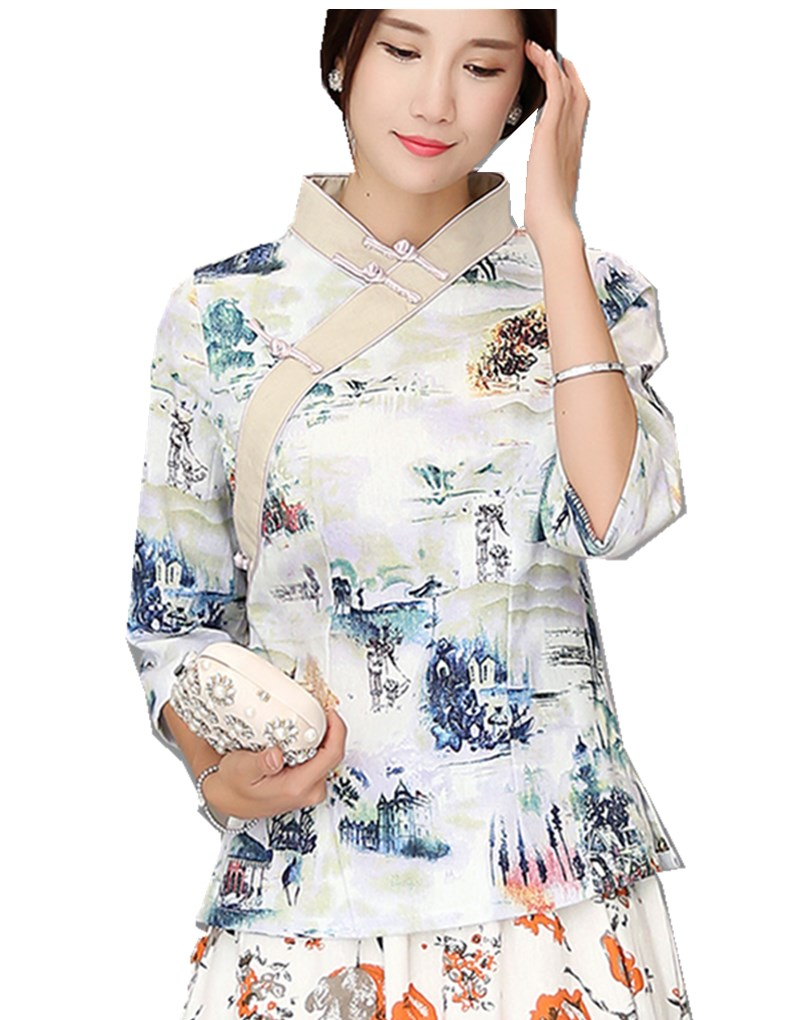 Shanghai Story Chinese Traditional Summer Top Vintage Women Blend Linen Blouse Shirt Chinese Blouses For Lady Hanfu Tops