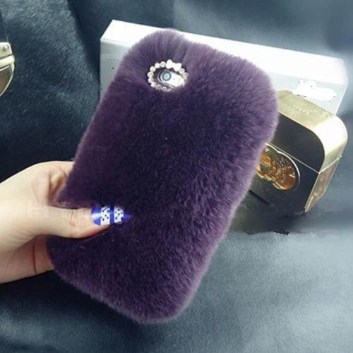 LaMaDiaa Fashion Luxury Warm Soft Rabbit Fur Skin Funda para Samsung - Accesorios y repuestos para celulares - foto 4
