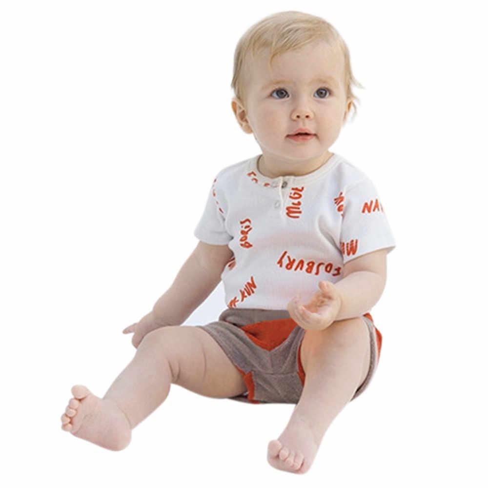 CHAMSGEND Newborn Baby Boys Girls Letter Print Romper Jumpsuit Outfits prints short sleeve jeans Clothes drop ship june28 P30