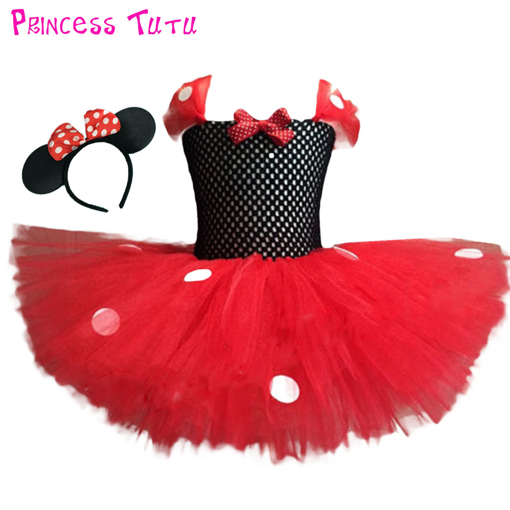 Red Minnie Girl Sparkle Birthday Party Tutu Dress White Dot Kids Christmas Tutu Dresses Children Clothes Wear With Headband minnie dots 4th birthday number minnie print tank top with white ruffles