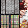 1 unids Nueva Nail Art Plantillas de Estampado Pegatinas Múltiples Utilizar Vinilos Nail Tips Manicura Hollow Reciclar Pegatinas Guía 24 Estilos