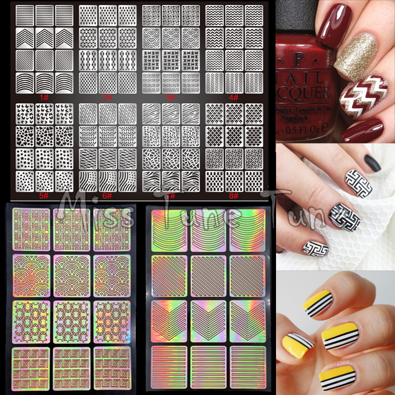 1pcs New Nail Art Stencils Stamping Stickers Multiple Use Vinyls Nail Tips Manicure Hollow Recycle Stickers Guide 24 Styles 10pcs nail art stamping printing skull style stainless steel stamp for diy manicure template stencils jh461 10pcs