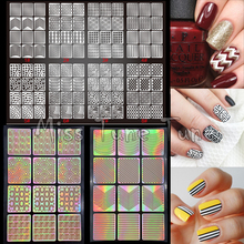 1pcs New Nail Art Stencils Stamping Stickers Multiple Use Vinyls Nail Tips Manicure Hollow Recycle Stickers Guide 24 Styles