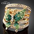 18 K Banhado A Ouro Mulheres de Cristal Austríaco Jóias Promoção Encantador Padrão Borboleta Imitação de Diamante Anéis de Dedo Para O Partido