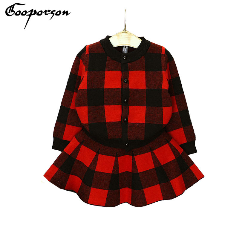 Girls Sweater Clothes Set Knitted Cardigan Outerwear Coat + Skirt Plaid Clothing Set For Baby Girl High Quality Children Garment t100 children sweater winter wool girl child cartoon thick knitted girls cardigan warm sweater long sleeve toddler cardigan