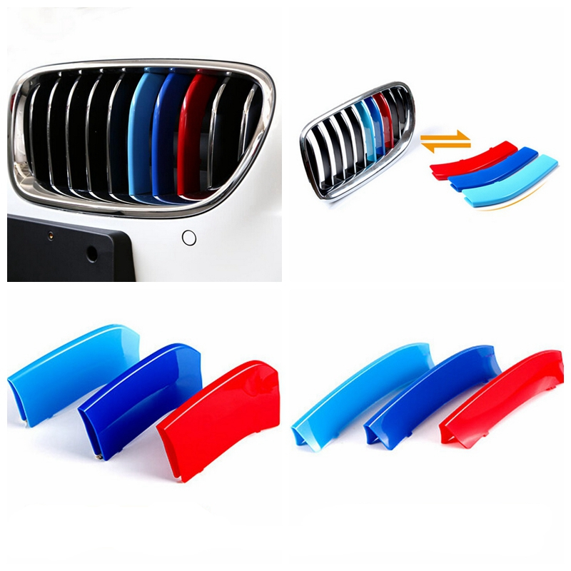 Car styling 3D M Car Front Grille Trim Strips Cover Motorsport Stickers For BMW 3 4 5 X3 X4 X5 X6 F10 F18 F30 F35 3 Colors ABS atreus 3pcs 3d car front grille trim sport strips cover stickers for bmw e46 e90 f30 f34 e92 e93 3 series gt m power accessories