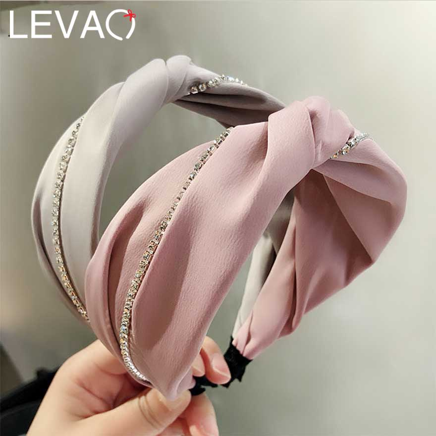 LEVAO Solid Fabric Rhinestone Twist Hair Hoop For Women Hairbands Knotted Headband Plastic Striped For Girls Hair Accessories