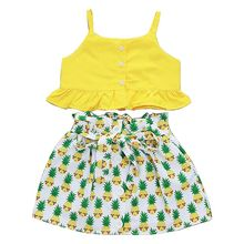 2 Pcs/set Baby Suit Sling Top Pineapple Print Pattern Kids Girls Bright Color Suits Seaside Style Vacation New