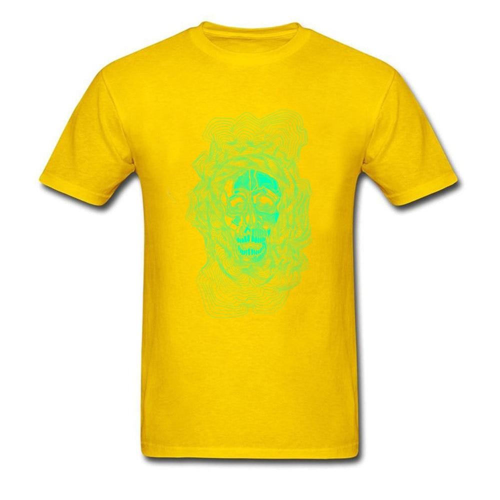 oldskull 100% Cotton T Shirt for Men Hip hop Top T-shirts Comics Dominant O Neck Sweatshirts Short Sleeve Free Shipping oldskull yellow