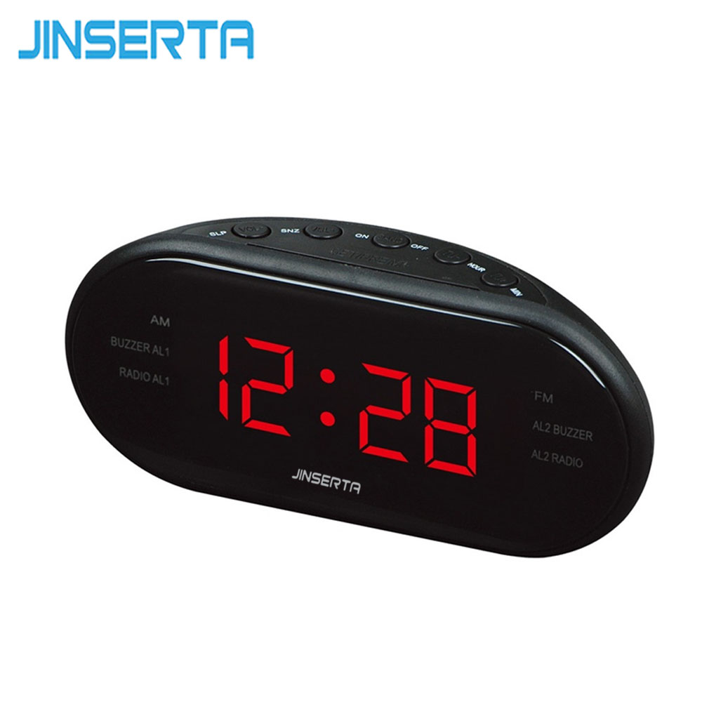 Jinserta Led Digital Radio With Blue Red Backlight Alarm