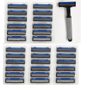 31 In 1 30 Razor Blades For Men +1 Holder Safe Shaving Razor Blade Razor Replacement Heads Triple Head Mens Shaving High Quality