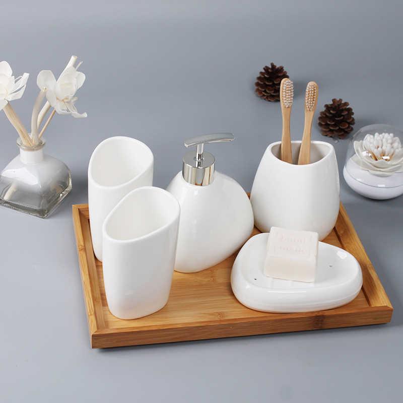 Ceramika akcesoria łazienkowe zestaw dozownik mydła w płynie/uchwyt szczoteczki do zębów/Tumbler/mydelniczka wacik aromaterapia produkty łazienkowe