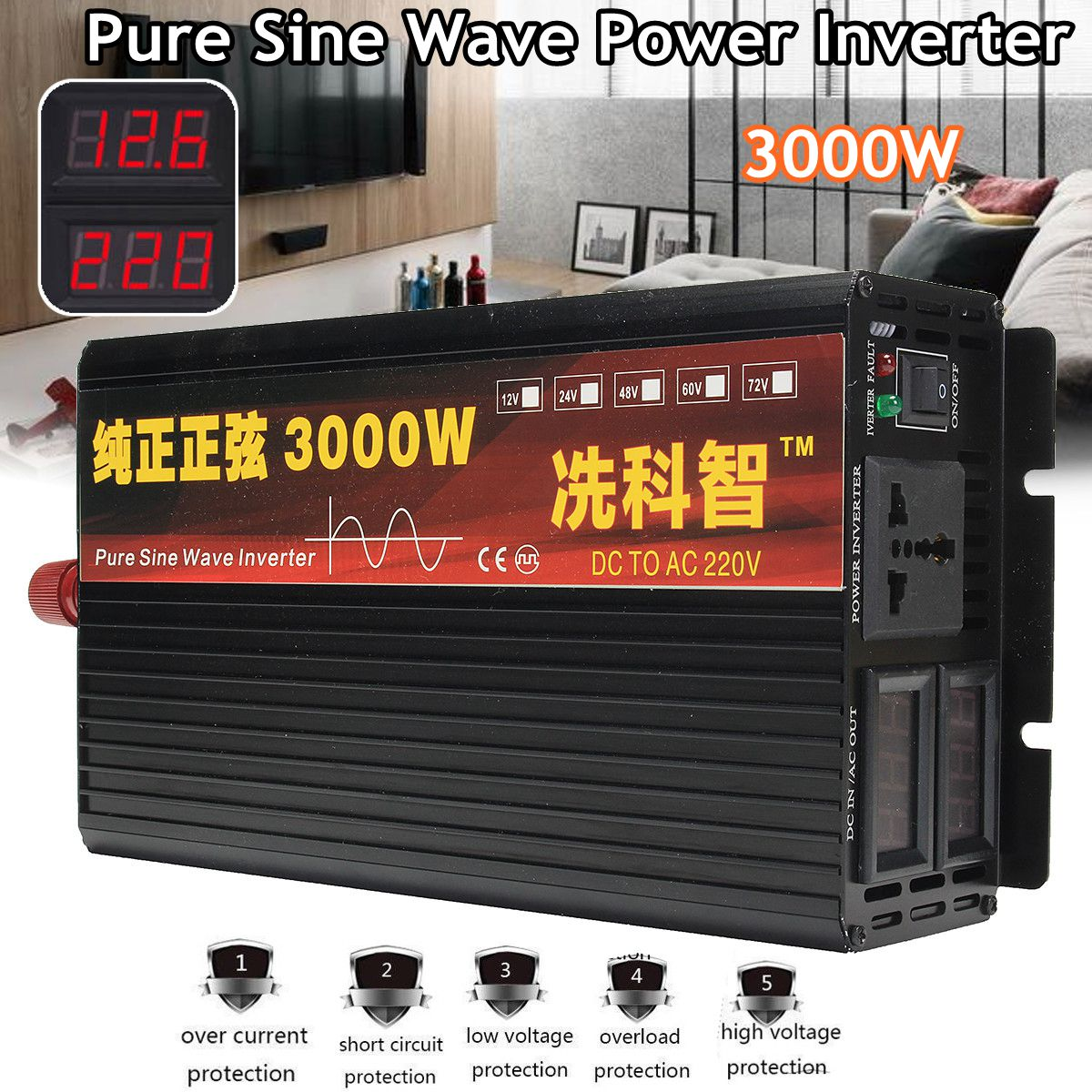 Inverter 12 v/24 v 220 v 2000/3000/4000 watt Spannung transformator Reine Sinus Welle Power inverter DC12V zu AC 220 v Konverter + 2 Led-anzeige