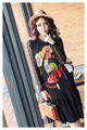 Melinda Style 2017 new women fashion dress summer long sleeves carton cock pattern beading decorated lace dress free shipping