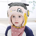 2016 Dos Desenhos Animados Snowproof chapéus de pele Ao Ar Livre quente Grossa Além de veludo meninos meninas tampão Do inverno Do Bebê Crianças Earflap Chapéu de idade para 1-4 anos velho