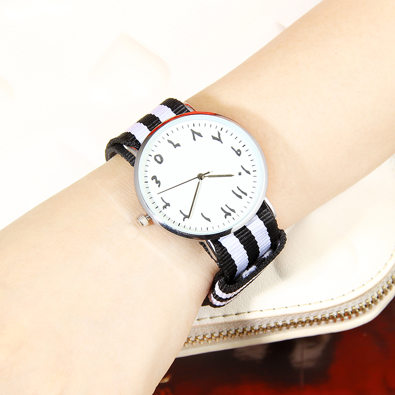 цена Classic canvas nylon stripe strap quartz watches arabic numerals design women's fashion watch with alloy case BGG brand clock