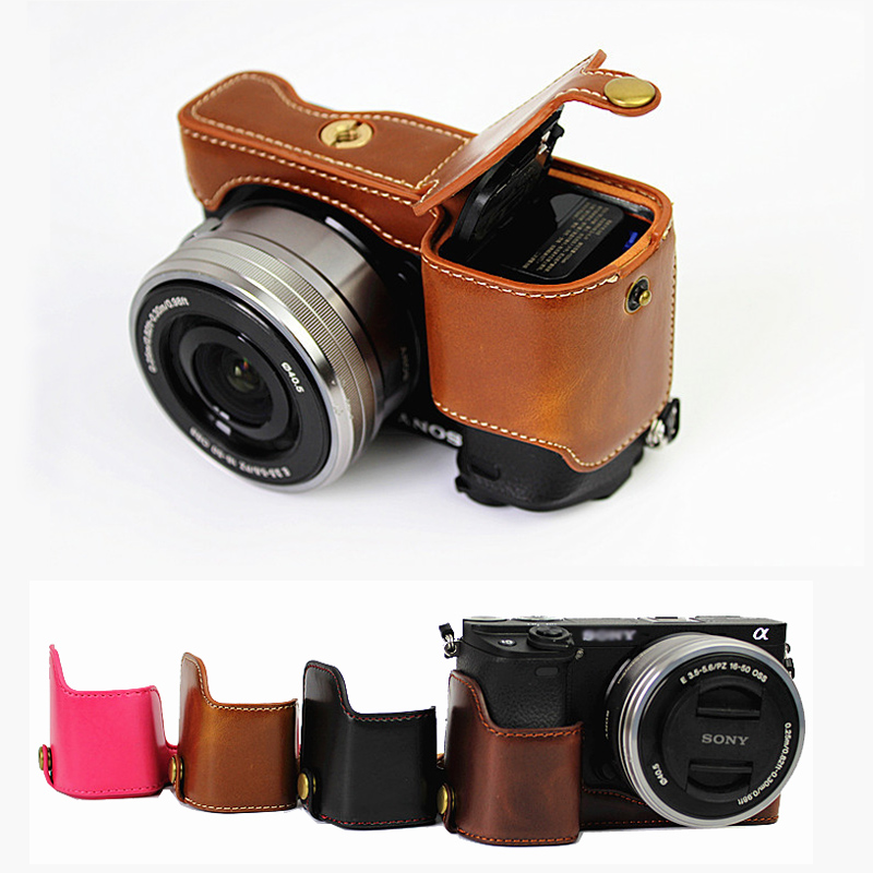 PU Leather case half body Set Cover Camera Bag Bottom For <font><b>Sony</b></font> A6300 A6000 ILCE-<font><b>6000</b></font> ILCE-6300 With Battery Opening image