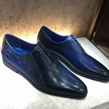 TERSE_Goodyear welted handmade leather dress shoes top genuine leather formal mens shoes in blue gentleman shoes custom service