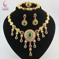 Fashion African Beads Red/Green Gem Stone Rhinestone Costume Fine Jewelry Sets  Gold Plated Crystal Women Wedding Party Set