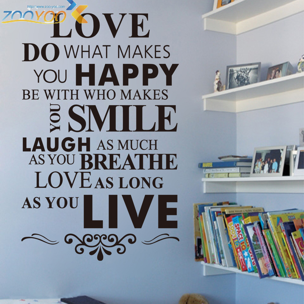 Inspirational Proverbs Happy Love Smile Live Life Inspirational Quotes Wall Stickers