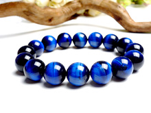 Top Quality Natural Tiger Eye Royal Blue Gemstone Round Beads Stone Bracelet Women Men Crystal 14mm 16mm Drop Shipping AAAAA 14mm precious natural blue kyanite gems stone cat eye big round crystal beads jewelry powerful stretch men bracelet