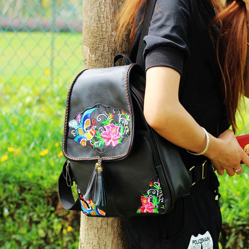 The First Layer Cowhide Embroidery Backpack Women Ethnic Lady National Style Handmade Large Capacity Travel School