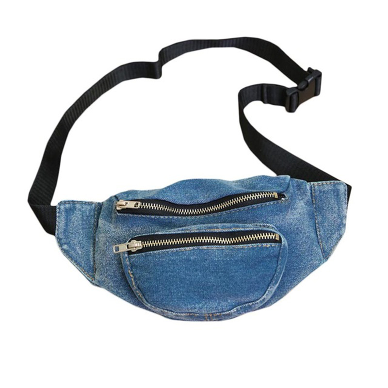 Women Waist Bag Retro Denim Acid Wash Jean Fanny Pack Purse Chest Shoulder Messenger Belt Bag Heuptas Bum Bag Marsupio Uomo