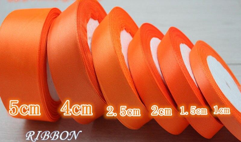 Geinne 6 мм-50 мм шириной 25 ярдов/roll Orange красный одно лицо атласная лента оптовая продажа подарочной упаковки рождественские Ленты