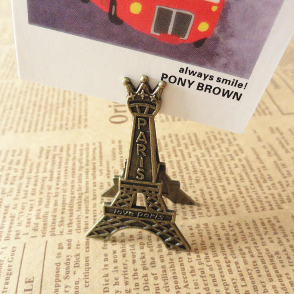 Photo Clip Postcard Clips Home wedding Decoration Vintage Metal Eiffel Tower Paris Memo Clip Message Holders Card Holder