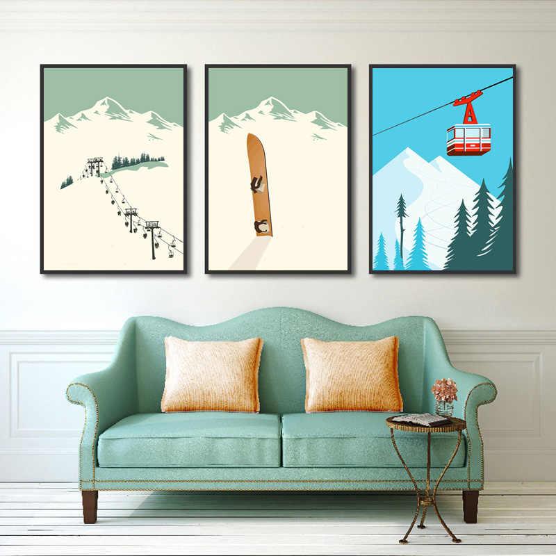 Karikatür kayak spor kış manzara posterler ve baskılar boyama soyut tuval sanat duvar resimleri İskandinav ev dekorasyon