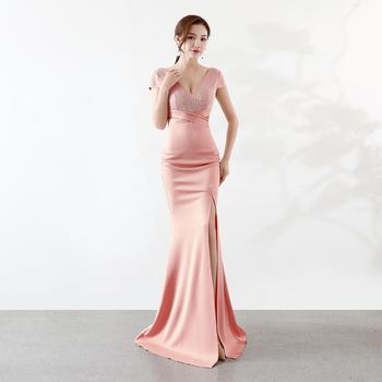 Sladuo Women Elegant  Diamond Crystal Short Sleeve Luxury Sexy Slit Mermaid Floor Length Dresses For  Evening Party Dress