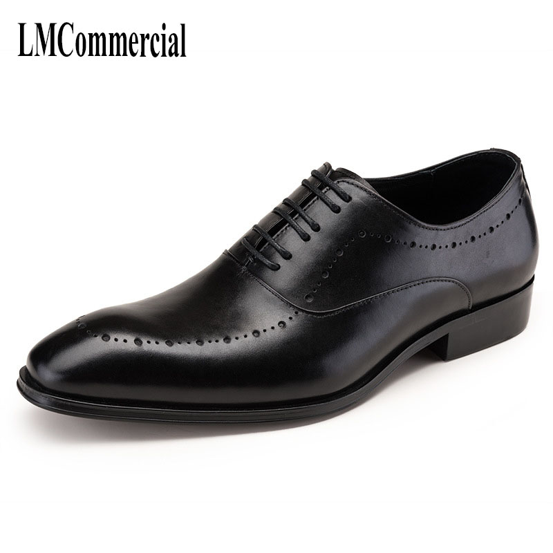 carve patterns or designs on work men head layer oxfords pointed British lace-up shoes low business shoes suits of men's shoes
