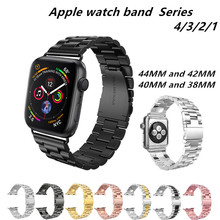 где купить Stainless Steel Luxury Watch Band For Iwatch Series 44/42/40/38mm Classic Bracelet Strap Wrist Strap For Apple Watch 4/3/2/1 дешево
