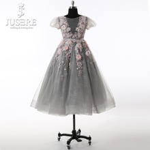 Baby Gown Grey Tulle Body Flowers Colorful Pleat Short Sleeves Floor Length Lovely Flower Girls Dress 2018